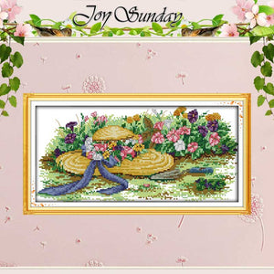 Flowers and straw hats counted Cross Stitch 11CT 14CT Cross Stitch Set Wholesale DIY Cross-stitch Kit Embroidery Needlework