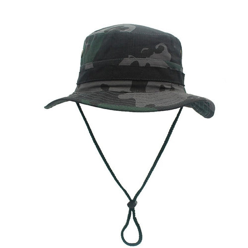 Foldable Bucket Hat UPF Breathable Mesh Camo boonie hats for men Sun Hat Outdoor Summer Mens Fishing Cap With storage Safari