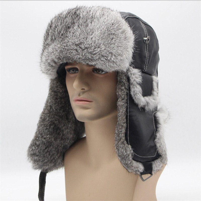 Free Shipping 2018 New Bomber Trapper Hats Winter Warm Rabbit Fur Hat Rex  Snow Caps Ear Flap Caps Ushanka Russian For Men Hat 7a080c771ac