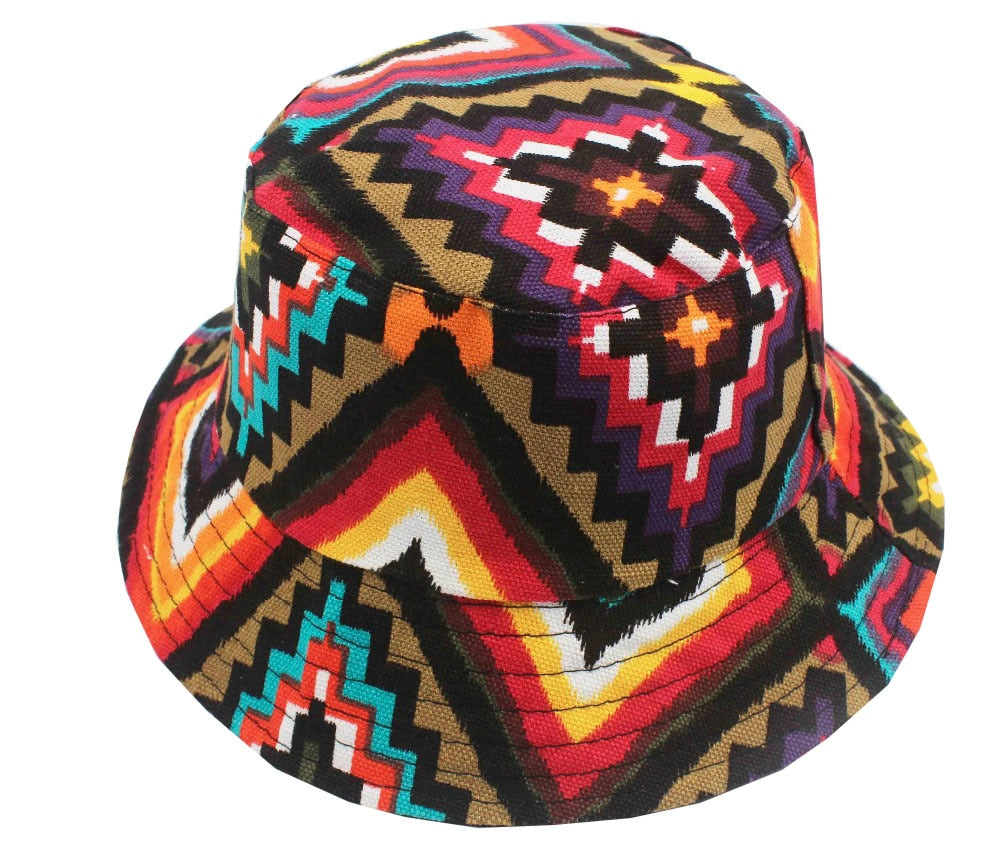 Free Shipping 2020 New Fashion Cute Summer Women Mens Aztec Geometric Printed Bucket Hats  Beach Outdoor Sun Caps