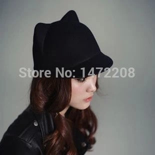 Free Shipping Autu And Winter Women's Hats Female Dome Woolen Small Fedoras Cat Ears Devil Caps Lady's Fedoras