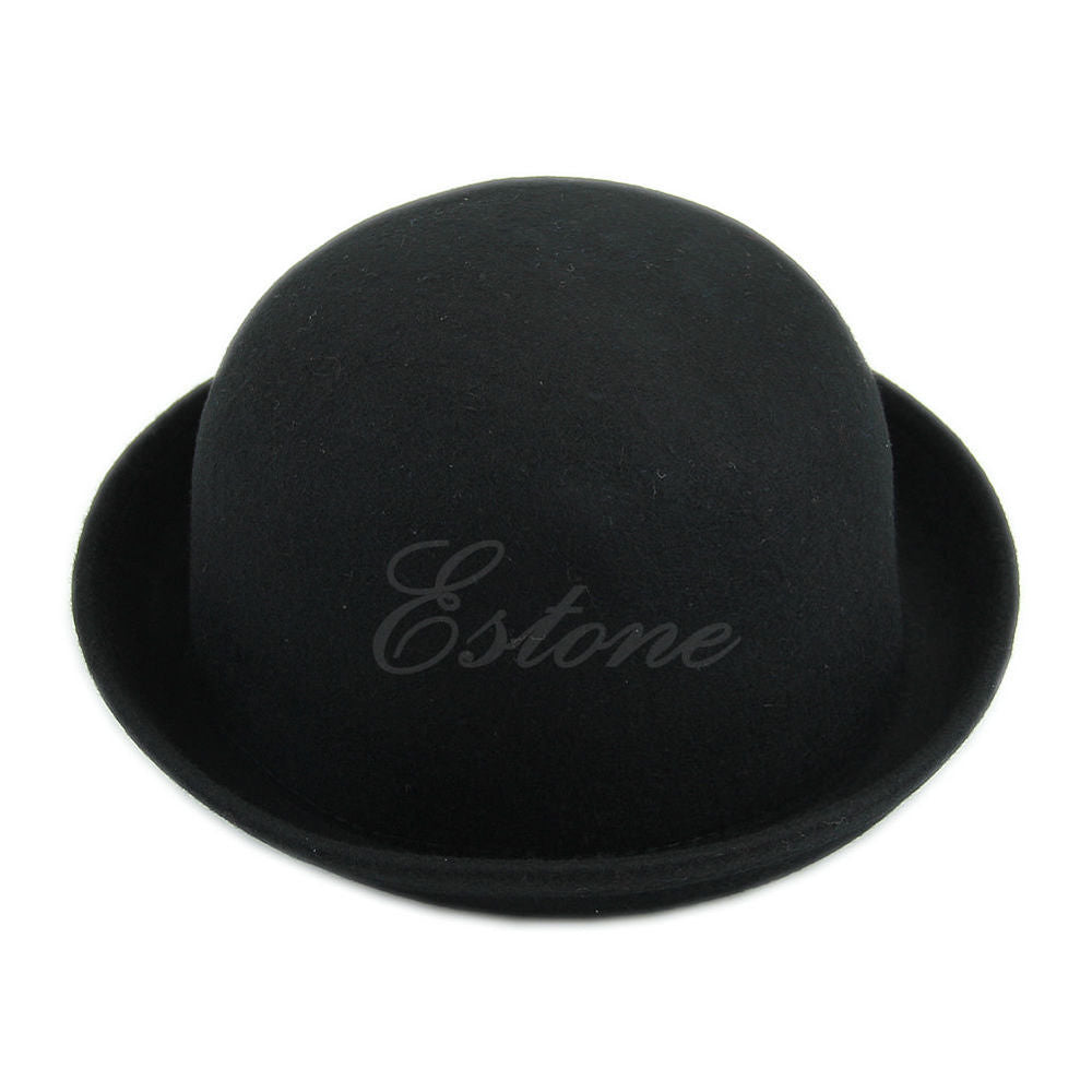 Free  Shipping fashion Femmes Lady Mode Vintage Laine mignonne solide Bowler Hat Derby-Y107