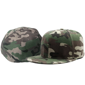 Full close camouflage hip hop cap whole closure women men's leisure flat brim bill hip hop baseball cap fitted snapback hat