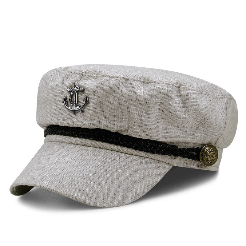 Full close flat army cap women short peaked navy hats men's leisure sun hat summer cotton and linen fitted captain caps