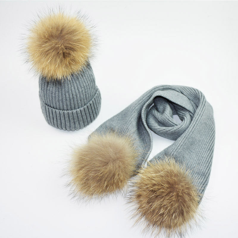 Fur Pompom Winter Hats for Woman Man Raccoon Fur Hat Scarf Set Girls and Boys Fur Pom Poms Knitted Beanies Hat Cap Brand Scarves
