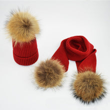 Load image into Gallery viewer, Fur Pompom Winter Hats for Woman Man Raccoon Fur Hat Scarf Set Girls and Boys Fur Pom Poms Knitted Beanies Hat Cap Brand Scarves