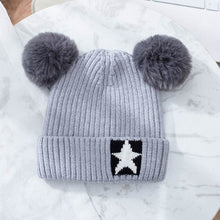 Load image into Gallery viewer, Cute Girl Hat Fit For Autumn And Winter Warm Cotton Knitting Fluff Ball Lovely Girl Cap Cheap Winter Hats 3-8 Years