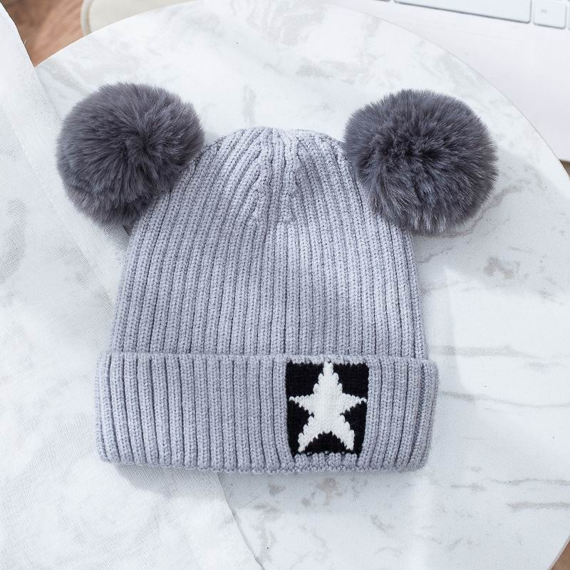 Cute Girl Hat Fit For Autumn And Winter Warm Cotton Knitting Fluff Ball Lovely Girl Cap Cheap Winter Hats 3-8 Years