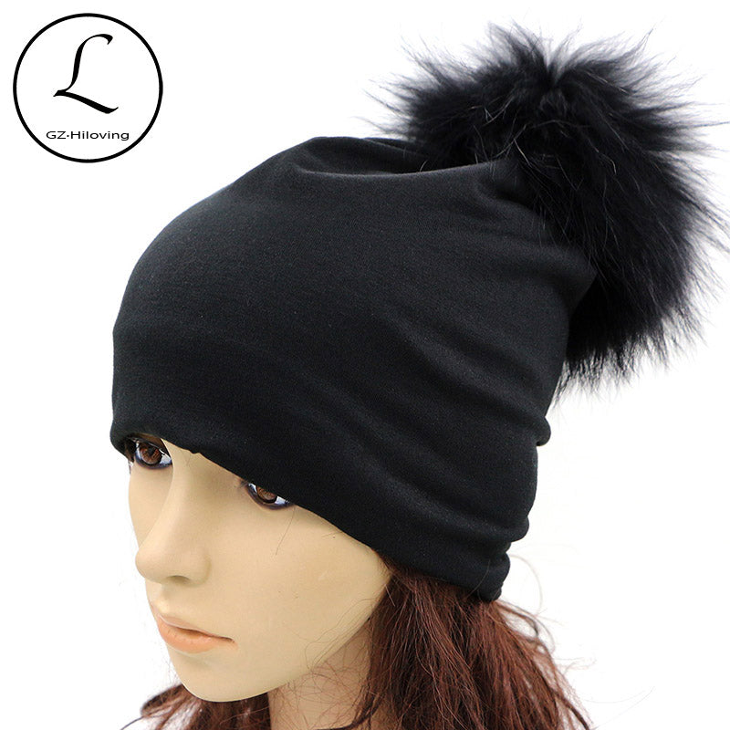 Womens Beanie 2017 Spring Thin Ladies Womens Solid Color Skullies Beanies Real Fur Pom Pom Hats Black Gray Caps