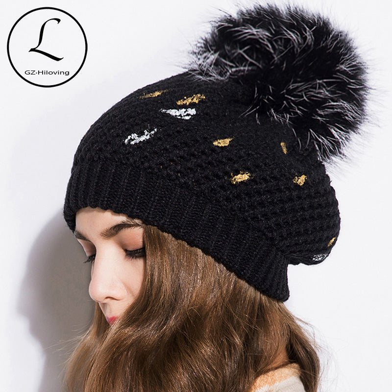 Thick Warm Winter Hat For Women Soft Stretch acrylic Knitted real fur Pom Poms Beanies Hats Women's Skullies Beanies