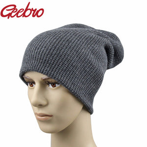 Brand Men's Spring Winter Hats Cashmere Warm Knitted Dad Hat for Men Real Wo Fur Skully Beanie 4 Color Black JS270A