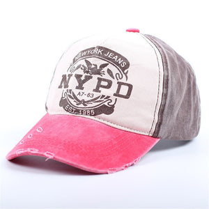 NYPD Letter Patchwork Baseball Cap Summer Casual Cotton Snapback Baseball Caps For Men and Women Full Closed Cap Sun Hat