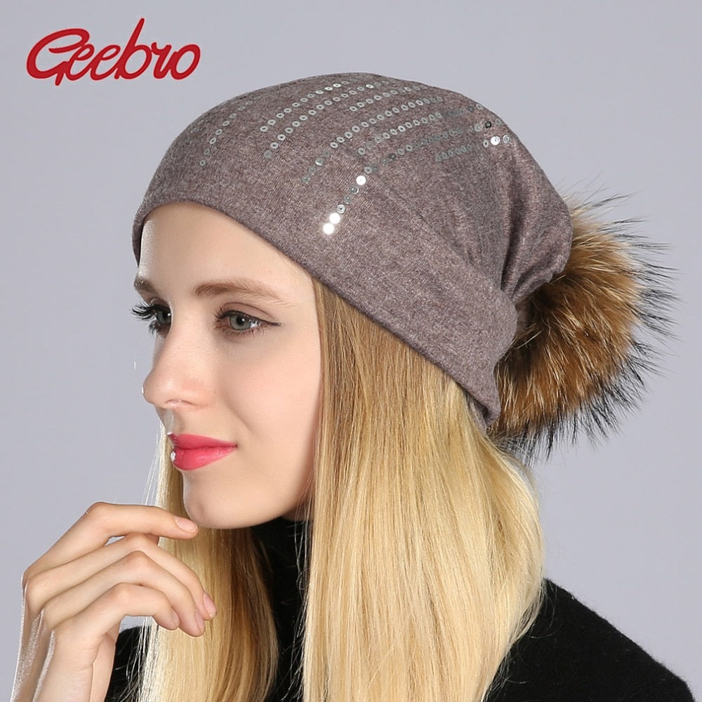 Women Round Sequins Beanie Spring 2018 Cot Black Hats Ladies Beanies Cap  with Real Natural Raccoon Fur Pompoms GS071 f25686f463