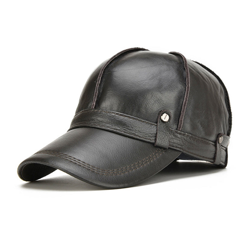 Genuine Leather Baseball Cap For Man Male Winter Classic Thermal Brand New Black/Brown Gorras Dad Fashion