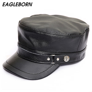 16c5a547d19 Genuine Leather Military Hats Unisex Dad Caps Black Gorras Planas With  Earflaps Winter Hats For Men
