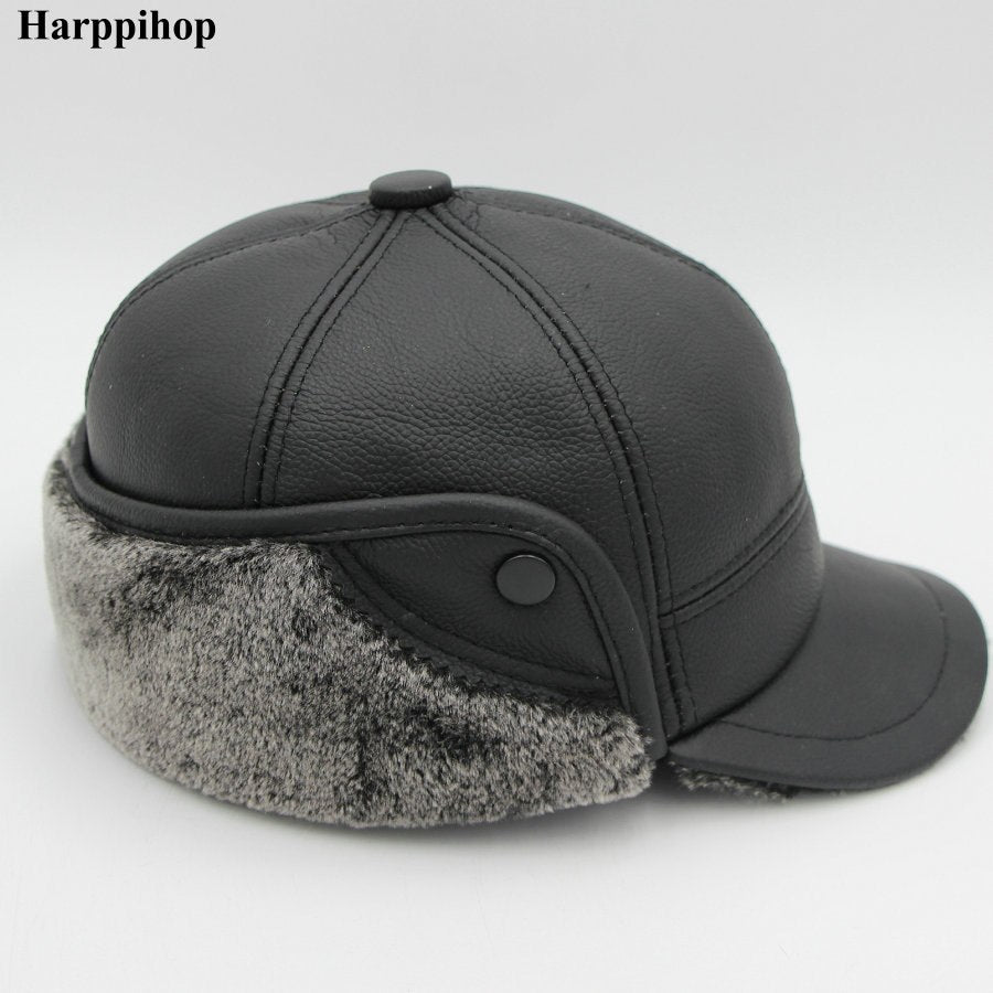 Genuine Real Cow Leather Caps Warm Men Ear Protection Hat Fitted Casual Solid New Brown Russian Winter Baseball Cap Dropshipping