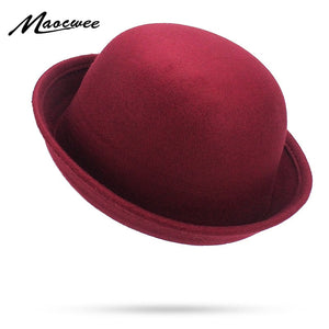 Girl Cute Pink Red Black Fedoras Autu Winter Vintage Solid Color Casual Dome Fedora Hats Women Church Hat Felt Hats Chapeau