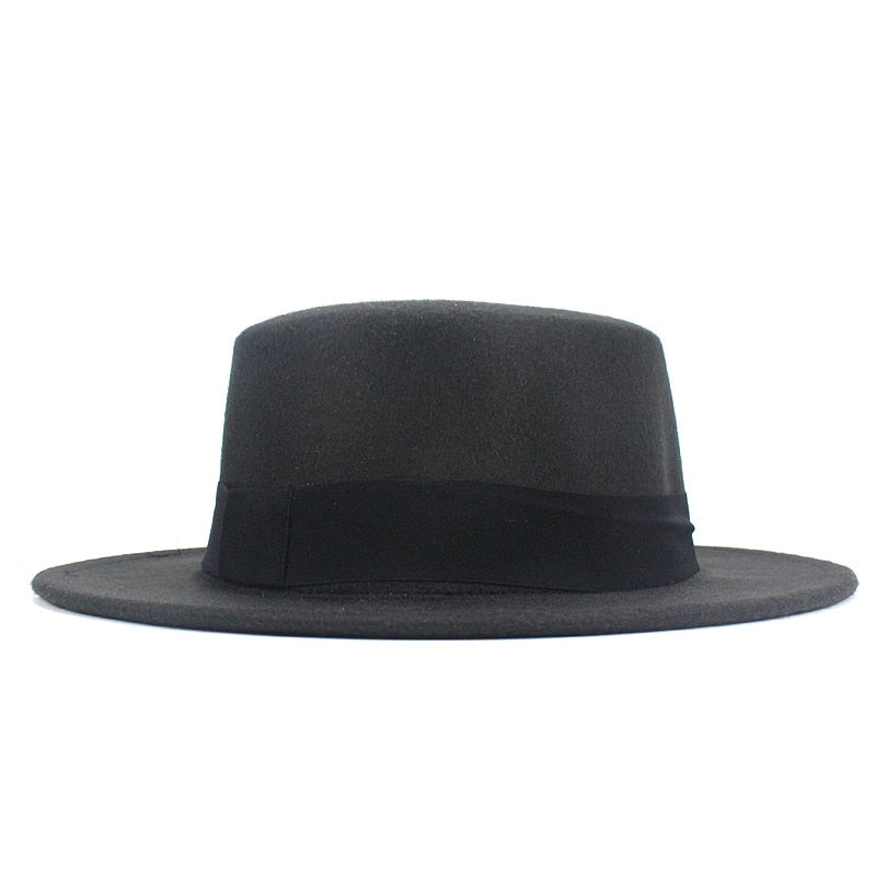 Girl Flat Top Hats Solid Black Red Casual Vintage Wide Brim Fedora ... 746cabdc92e