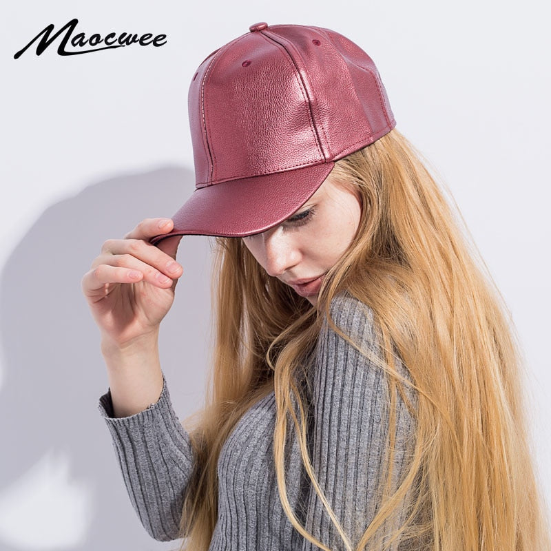 Girl PU Leather Baseball Cap Solid Color Fitted Hats Boy Girl Snapback Hat  Female Male Vintage Adjustable Caps Casquette Bones 08117f15ee5