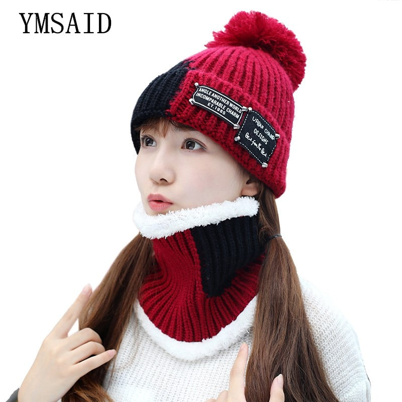 41c4055d9 Girl Ski Skullies Beanies Winter Hats For Women Knitting Hat Pompoms Ball  Warm Brand Casual Gorros Thick Female Cap Hat Scarf 2p