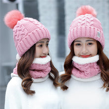 Load image into Gallery viewer, Girl Warm Ski 2017 new brand Big Fur pom poms ball Knitted hats scarf hat set Winter women Beanie Hat thick Skullies female cap