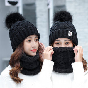 Girl Warm Ski 2017 new brand Big Fur pom poms ball Knitted hats scarf hat set Winter women Beanie Hat thick Skullies female cap