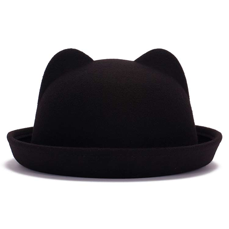 1e4b1f511 Girls Children Fedoras Hat Spring Bowler Hat Roll Brim Dome Top Hat Devil  Horns Cat Ear Felt Wo Sun Hat Good Package 20
