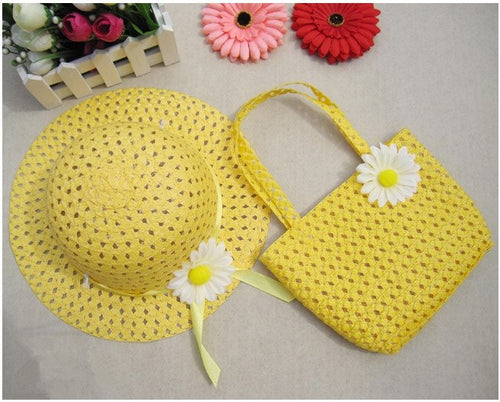 Girls Kids Beach Hats Bags Flower Straw Hat Cap Tote Handbag Bag Suit Children Summer Sun Hat 54CM For 3-7 years