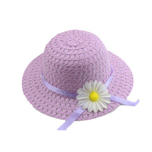 Load image into Gallery viewer, Girls Kids Beach Hats Bags Flower Straw Hat Cap Tote Handbag Bag Suit Children Summer Sun Hat 54CM For 3-7 years