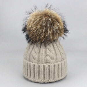 Girls Pom Pom Hats Real Fox Raccoon Fur Pompon Hat Wo Autumn Winter Warm Skullies Caps Hats For Women Children Baby Beanie Hat