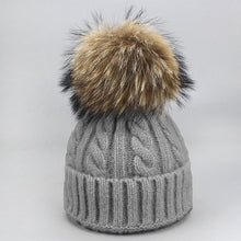 Load image into Gallery viewer, Girls Pom Pom Hats Real Fox Raccoon Fur Pompon Hat Wo Autumn Winter Warm Skullies Caps Hats For Women Children Baby Beanie Hat