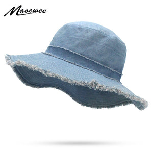 Girls Wide-brimmed Cowboy Hat Casual Flat top Women Men Fisherman's Hat Solid Denim Fisherman Bucket Cap Navy Blue Fishing Hats
