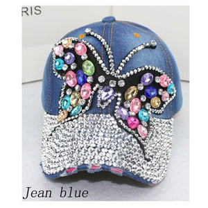 Good Quality New Fashion Women Diamond Flower Baseball Cap Letter Rhinestones Snapback Cap Summer Style Lady Jeans Hats YY60062
