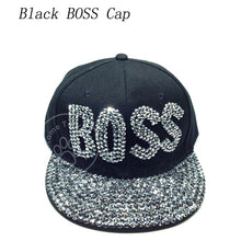 Load image into Gallery viewer, Good Quality New Fashion Women Diamond Flower Baseball Cap Letter Rhinestones Snapback Cap Summer Style Lady Jeans Hats YY60062