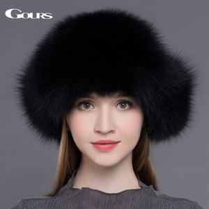 Gours Fur Hat for Women Natural Raccoon Fox Fur Russian Ushanka Hats Winter Thick Warm Ears Fashion Bomber Cap Black New Arrival