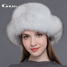 Load image into Gallery viewer, Gours Fur Hat for Women Natural Raccoon Fox Fur Russian Ushanka Hats Winter Thick Warm Ears Fashion Bomber Cap Black New Arrival