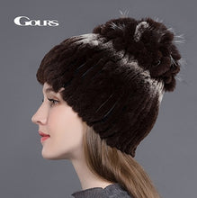 Load image into Gallery viewer, Women's Fur Hats Natural Rex Rabbit Fox Fur Caps Winter Warm Russian Ladies Fashion Brand High Quality Beanies New Arrival
