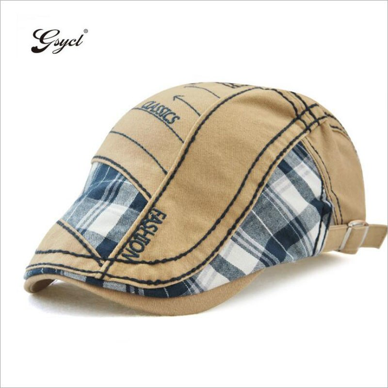 [Gsycl] European American Trend Peaked Cap Plaid Stitching Peaked Cap For Men New Outdoor Sun Hat 5 Colors Black Blue Beige Grey