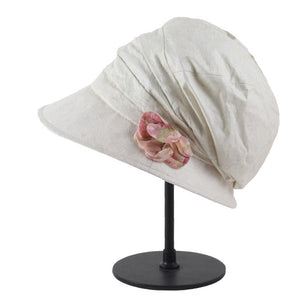 New women solid Spring cap lovely flower fold summer beige cotton letters sun hats girl romantic beautiful caps