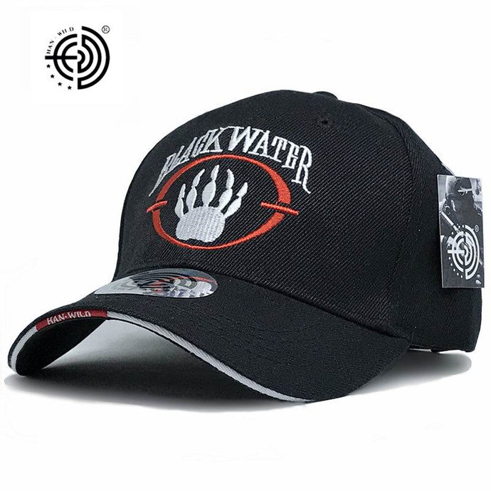 [HAN WILD] Brand American Blackwater Hats Mens Baseball Caps Closed Snapback Travel Baseball Cap Letter Black Water Army Cap