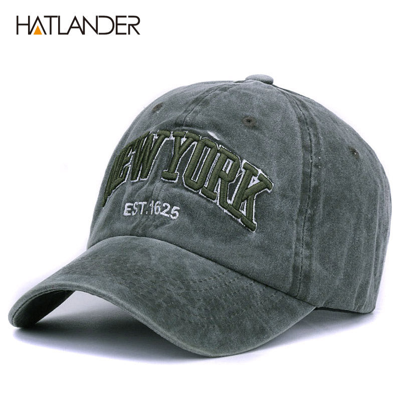 [HATLANDER]Sand washed 100% cot baseball cap hat for women men vintage dad hat NEW YORK embroidery letter outdoor sports caps