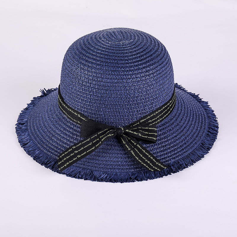 Fashion Pure Color Foldable Big Brim Handmade Straw Hat Hot Sun Hats For Women Bow-knot Decoration Sunscreen Cap