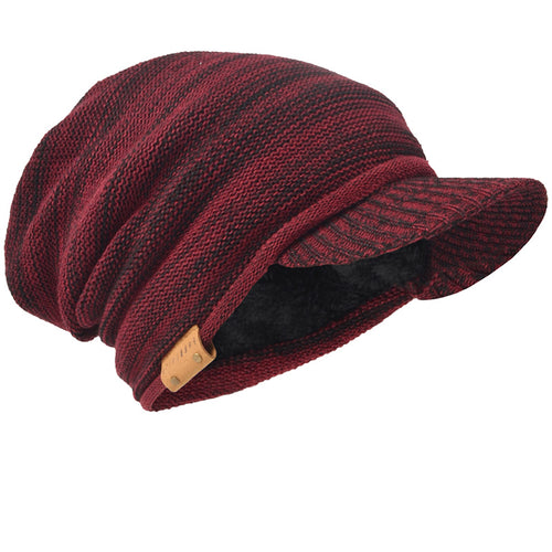 Mens Womens Knit Newsboys Winter Hats  Newsboy Cap Visor Beanie Skull Caps Thicken Cabbie Warm Outdoors Hats