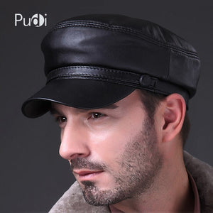 HL009 Genuine Black Lambskin Leather Baseball Hat Cap brand new style spring men's real leather caps hats