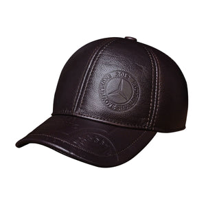 HL023 Spring genuine leather men baseball cap hat  high quality men's real leather adult solid adjustable snapback earsflap hats