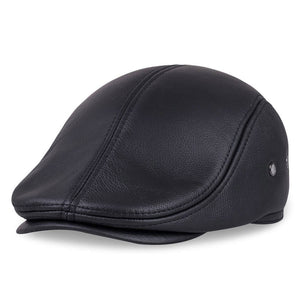 HL042 Spring Men's Real Genuine cow Leather baseball Cap brand Newsboy /Beret  Hat winter warm caps&hats men with ears ear flap