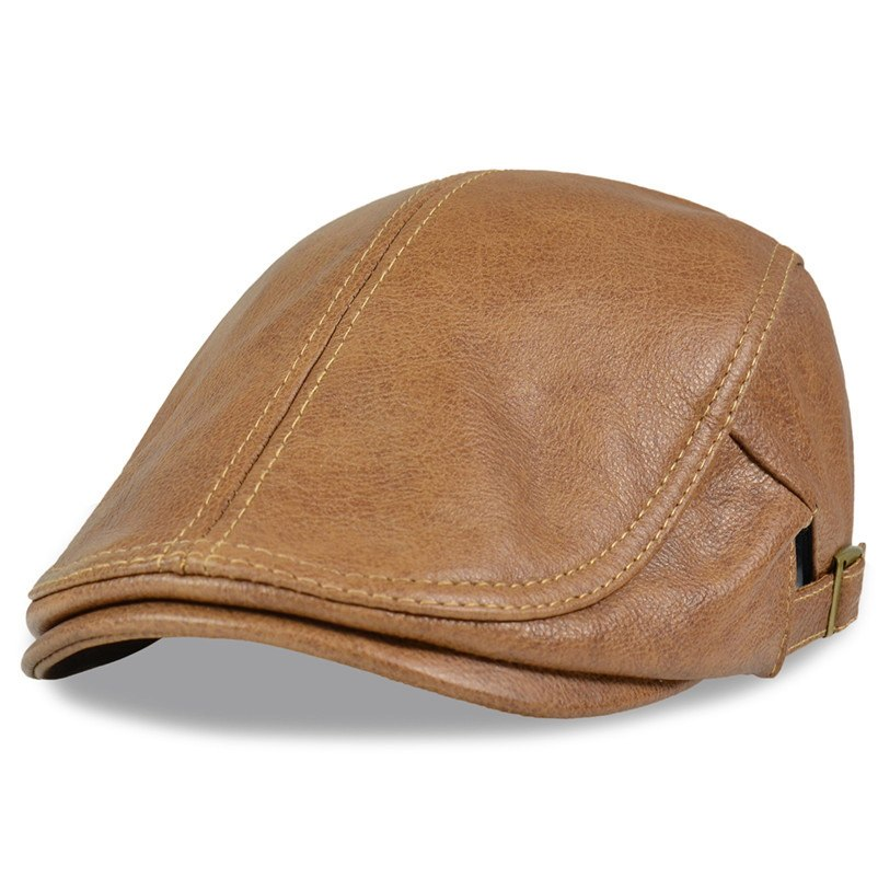 HL046  Men Genuine Leather Newsboy Hat Cap Gatsby Flat Golf Cabbie Baker Beret Retro brand new men's baseball cap