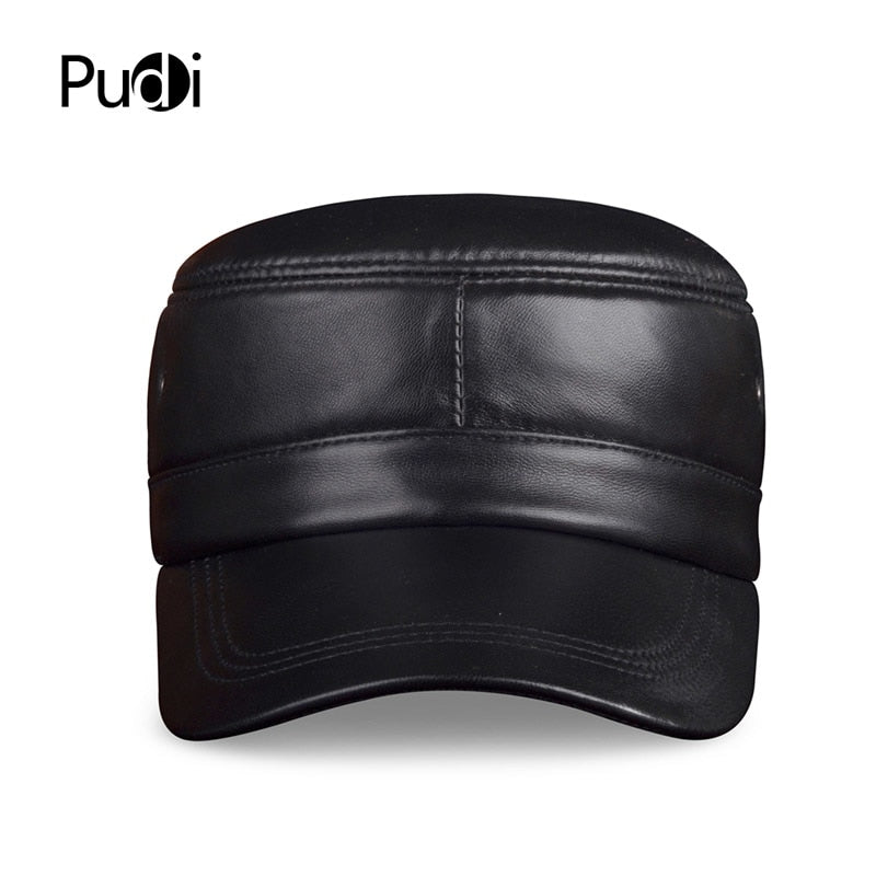 HL071 Genuine sheep Leather Rider Style Cowhide Fashion Army Cap Box Hat Cadet Visor men's baseball hats caps