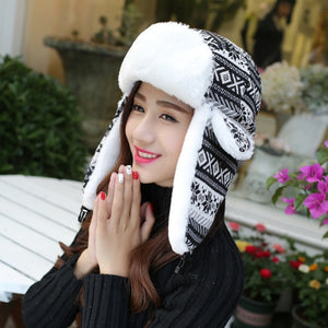 HT010 Classic Winter Bomber Hats Women Men Ear Flap Earflap Hats Snowflake Knitted Trooper Hats Unisex Thick Russian Hats