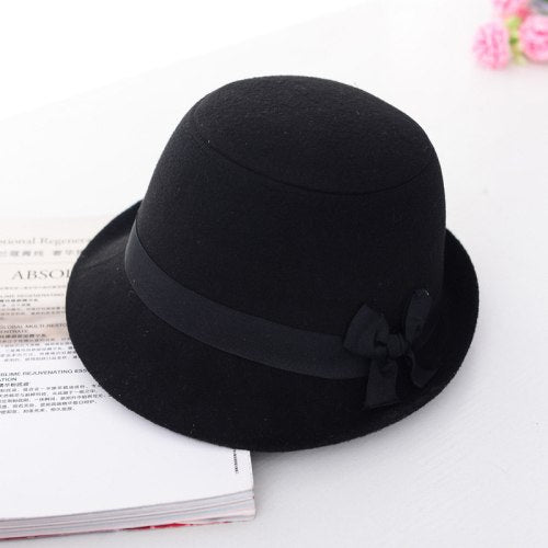 HT1215 Brand Imitate Wo Felt Hats for Women Solid Black Red Winter Hats Short Brim Fedora Hat with Ribbon Bow Warm Bucket Hat